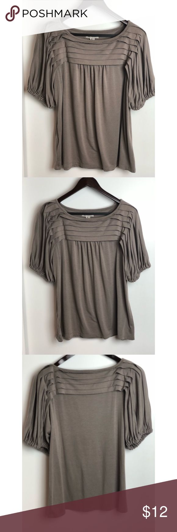Taupe Shirt fr BCBGeneration Great taupe shirt w accordion style detailing on sleeves. Great solid material. Great for work. BCBGeneration Tops Blouses