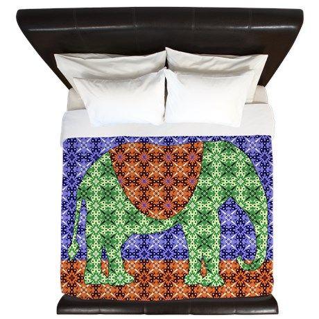 Colorful Elephant King Duvet