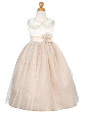 Champagne Embroidered Lace Collar Satin Bodice Girl Dress (size 2-12)