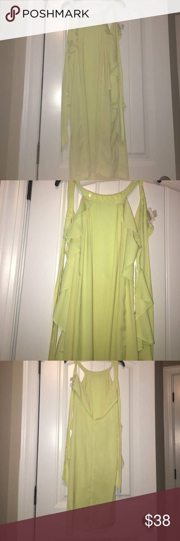 H&M Conscious Collection Vanessa Paradis neon yellow dress; ruffles sides on the dress; trapezoid beads on the collar H&M Dresses