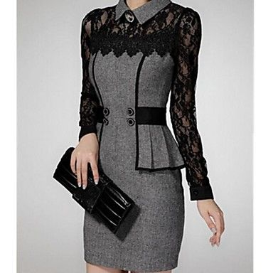 Women's Elegant Turn Down Collar Lace Splicing Bodycon Tweed Dress – USD $ 29.99