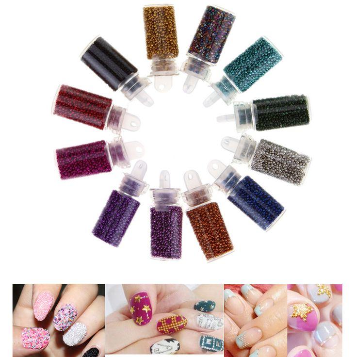 12 Couleur Minuscule Bouteille Caviar Perle Nail Art Ensemble Mini ronde Perles pour Français Acrylique UV Gel Conseils 3D DIY décoration