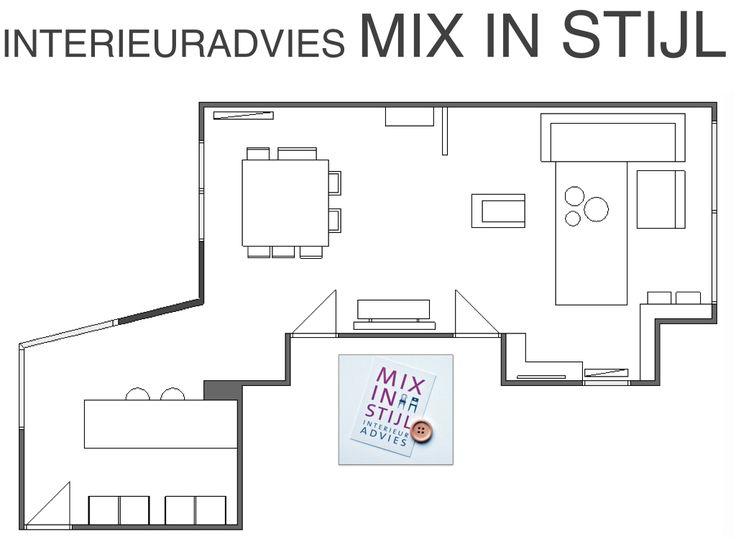 Indelingsplan Sander & Lonneke, Beuningen - interieuradvies van Mix in Stijl - www.mixinstijl.nl