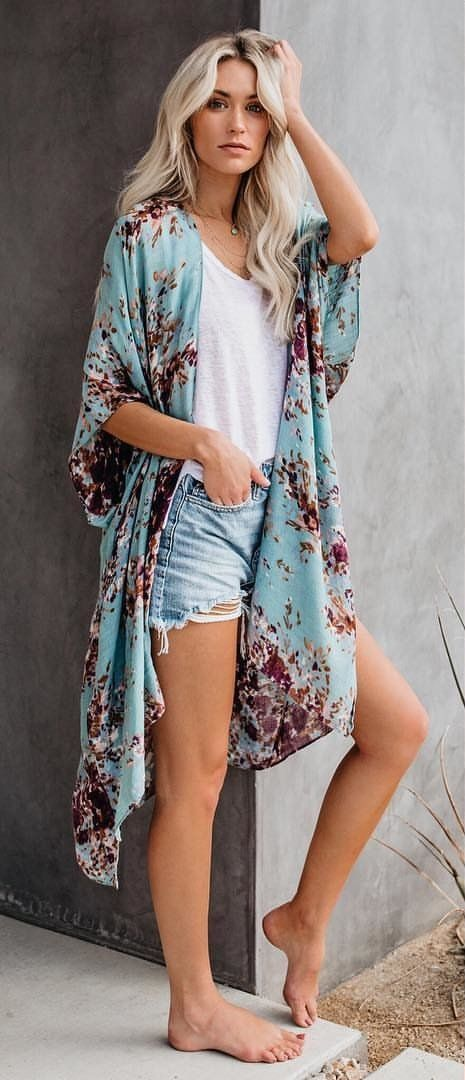 blue and pink floral cardigans #spring #outfits