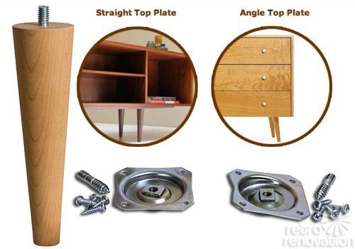 4 sources for mid-century modern furniture legs. angle top plate