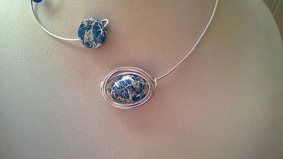 Open collar necklace Wire wrapped necklace Blue jewelry
