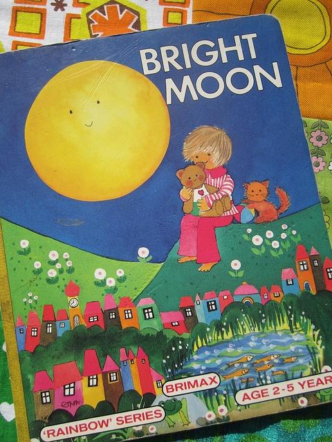 vintage childrens book, bright moon, via Flickr.