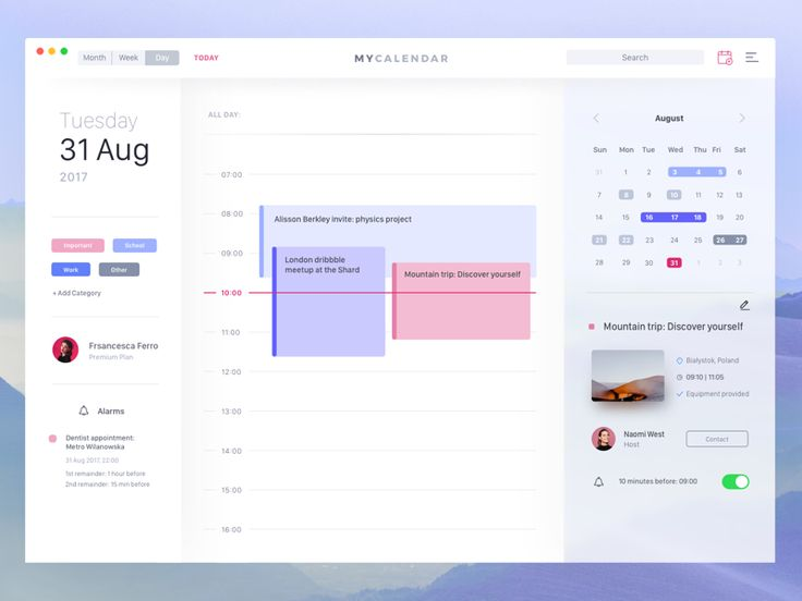 Hey guys!   I'm back with another screen for the calendar app. My Calendar is back this time with a day view. Hope that you'll like it.   Have an incredible week :)   __  Follow us on Twitter &...