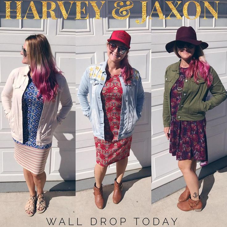 Harvey and Jaxon denim jackets from lularoe. Styled with Cassie, Julia and Carly