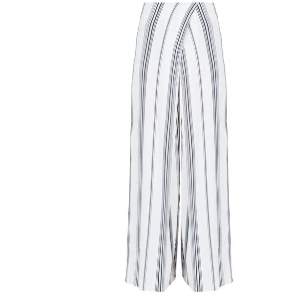 Kendall Kylie Wrap Front Wide Leg Pant ($148) ❤ liked on Polyvore featuring pants, linen trousers, wide leg trousers, white linen pants, white pants and white wide leg trousers