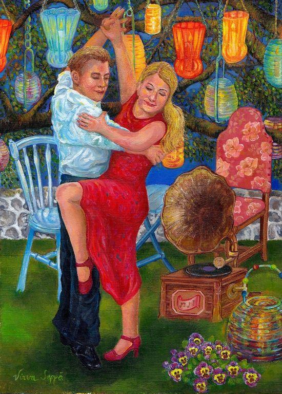 Hoksotin | A jigsaw puzzle: A man and a woman are dancing, illuminated by atmospheric lights / Palapeli: Mies ja nainen tanssimassa tunnelmallisissa valoissa.