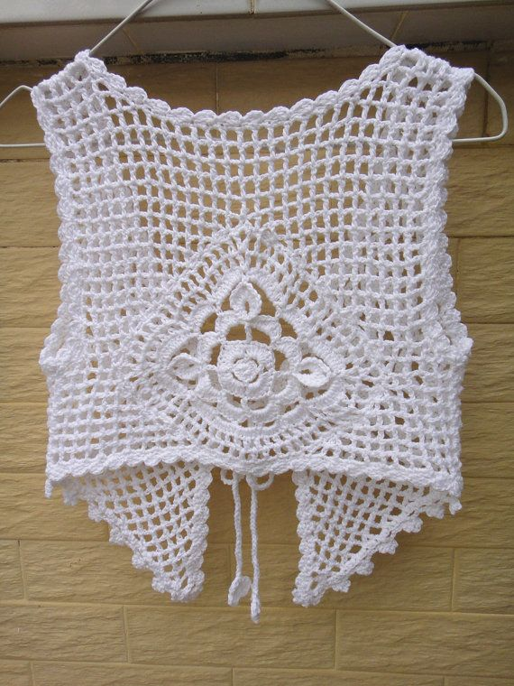 White Crochet Tie Front Crop Top Gypsy Vest by TinaCrochet2016