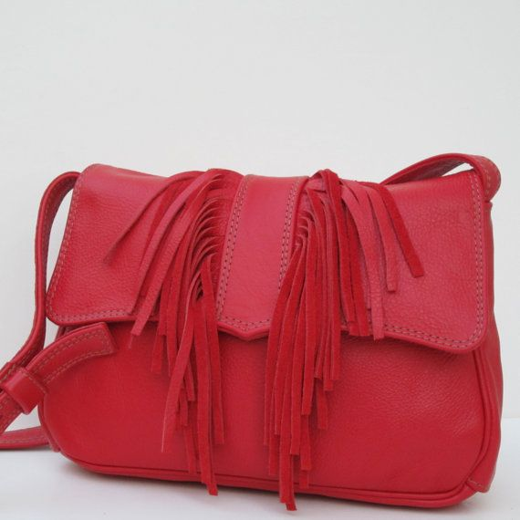 RESERVED FOR Roni Unger  Red Orange LEATHER with Fringe