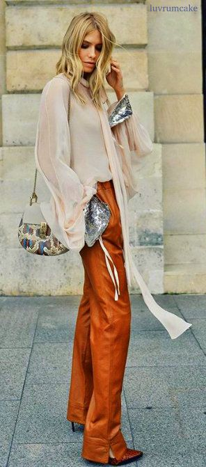 Chloe Blouse & Dior Leather Trousers
