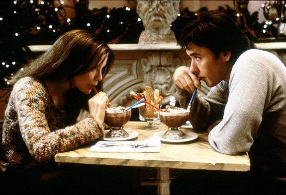 Jonathan: This is the ultimate blend to drink. How'd you find this place? Sara: I first came in because of the name: Serendipity. It's one of my favorite words. Jonathan: It is? Why? Sara: It's such a nice sounding word for what it means: a fortunate accident. NYC - serendipity movie scene