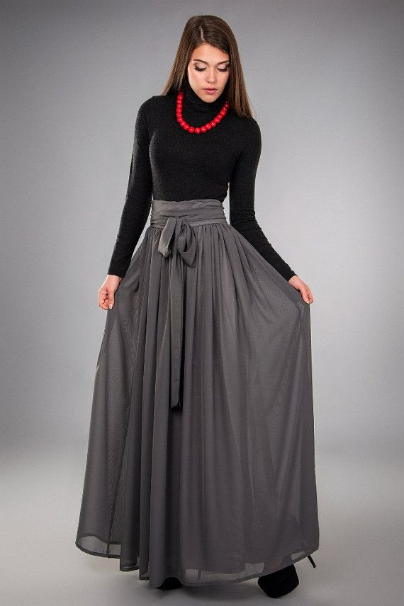 Hey, I found this really awesome Etsy listing at https://www.etsy.com/listing/252388358/grey-chiffon-skirtfolds-maxi-skirtfloor