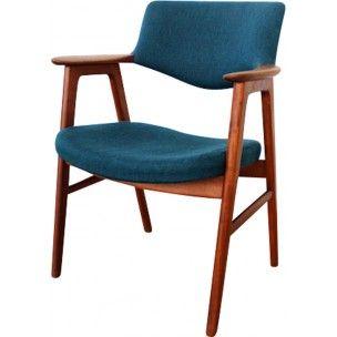 Chaise vintage danoise en teck et tissu, Erik KIRKEGAARD - 1960