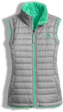 The North Face Girl's Reversible Mossbud Swirl Insulated Vest Metallic Silver/Bermuda Green XXS