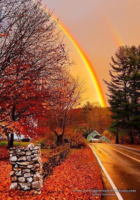 October Road,  An Autumn Double Rainbow in Quechee, Vermont, via pinterest