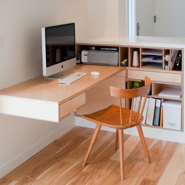 Maple Plywood Built In Office Furniture. Desk And Storage Bookcase With  Dividers By Kerf Design