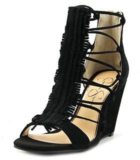 Jessica Simpson Beccy Women Open Toe Suede Black Wedge Sandal.