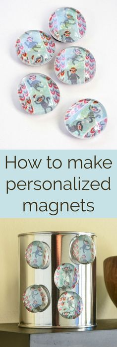 Learn how to make these easy personalized magnets using washi tape, flat glass marbles, and spray adhesive. You can make a ton of these for gifts or for your own fridge using a few simple supplies! via @diy_candy