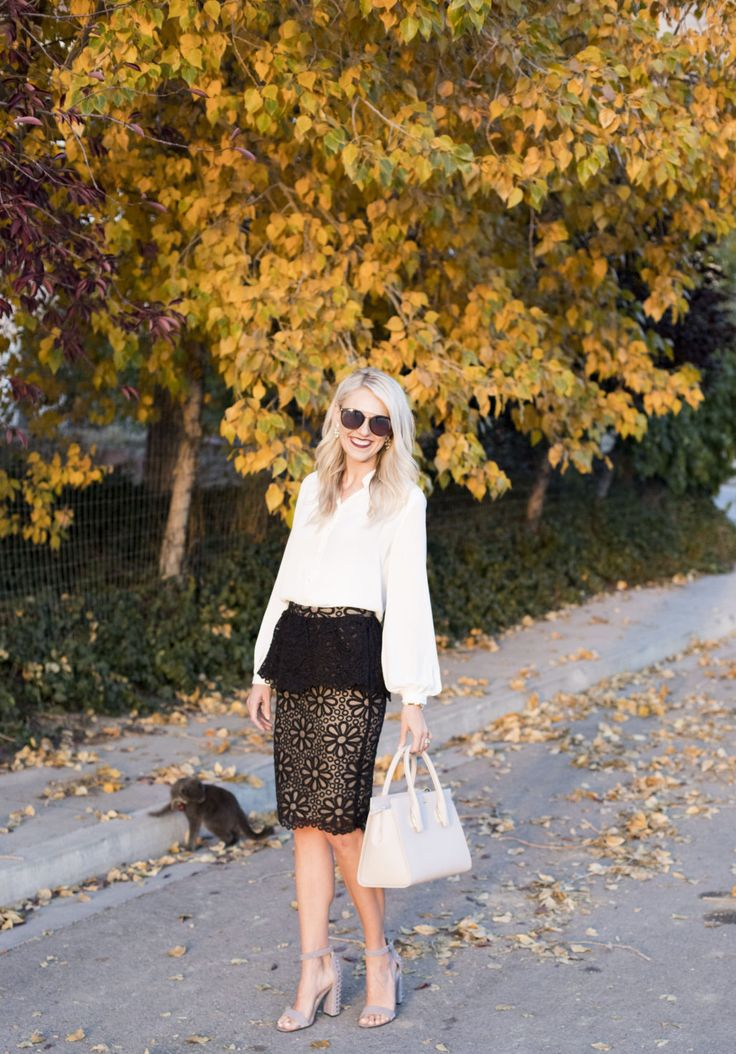 Click for an Exclusive Discount for Rachel Parcell! This skirt was originally $165 and you can get it for $38.25! It's the perfect black peplum skirt for any season! Black and nude skirt | Black peplum | Skirt outfit | Black and white fashion | Fall fashion | Discounts | Rachel Parcell clothing