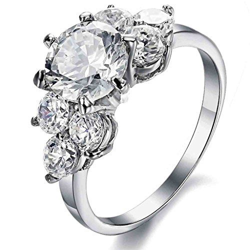 Beydodo Womens Stainless Steel Halo Promise Ring Cubic Zirconia Engagement Rings 2.5 MM Silver