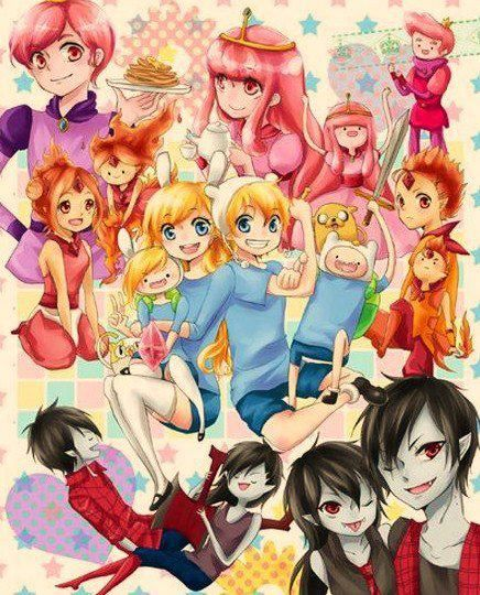 adventure time from both worlds in anime and usual form (pretty cool!)