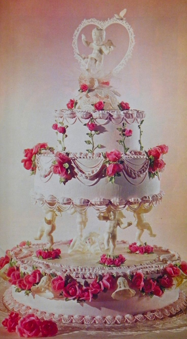 Wedding Cake With Cherub Pillars Google Search