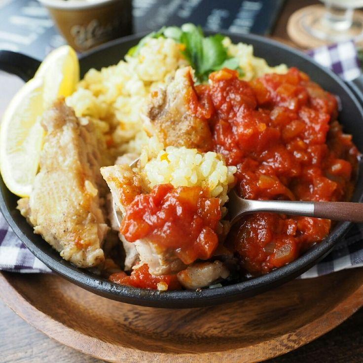 炊飯器で1発⁉チキンパエリア風ガーリックトマトソース添え♪ | しゃなママオフィシャルブログ「しゃなママとだんご3兄弟の甘いもの日記」Powered by Ameba