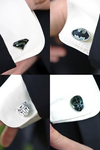 Cuff links- great gifts for guys. Superman, Spiderman, Transformers, Batman.