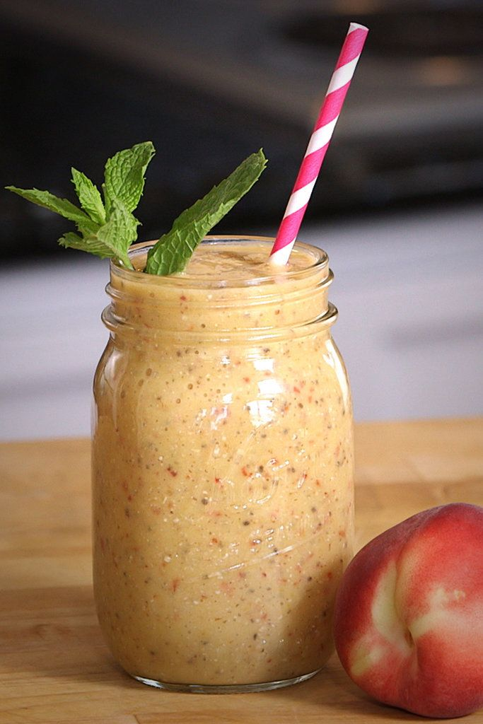 You'll feel like you're eating ice cream for breakfast with this vegan peaches and cream smoothie.