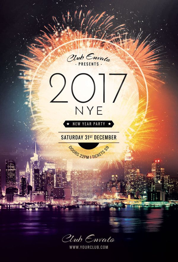 New Year Flyer Template by styleWish (Buy PSD Layout $9)