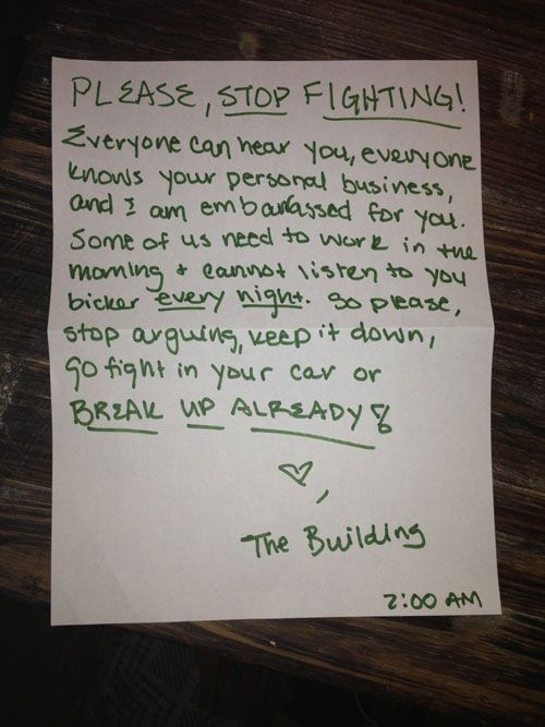 funny pissed off neighbor notes break up already
