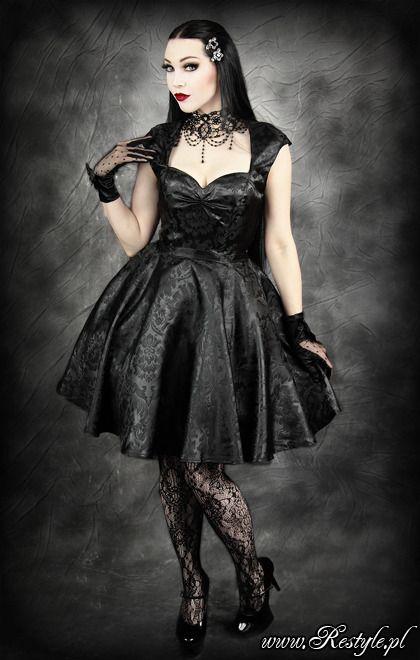 Pin up Black JACQUARD dress with pettitcoat