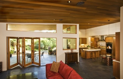 L shaped design- kitchen and living room near but still own space: Doors Design, French Doors, Open Floors Plans, Folding Doors, Great Rooms, Bifold Doors, San Francisco, Contemporary Families Rooms, Accordion Doors