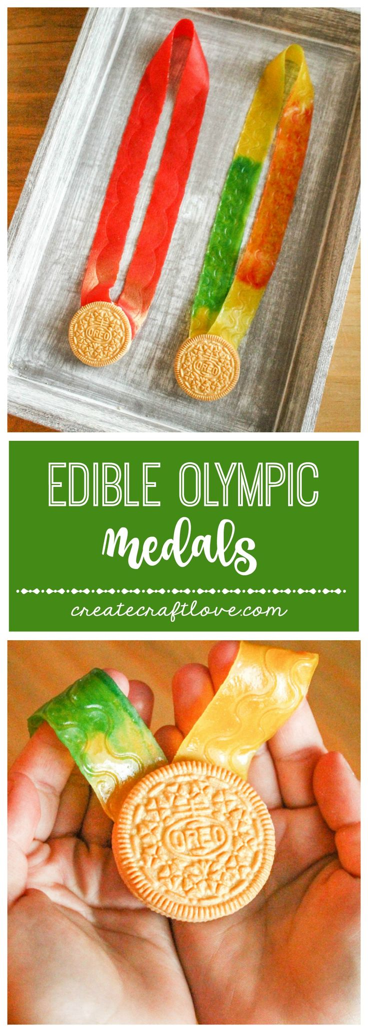 Whip up these Edible Olympic Medals for the Opening Ceremonies!  via createcraftlove.com