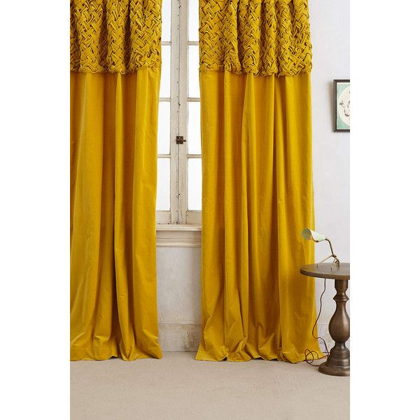 Braided Velvet Curtain found on Polyvore featuring polyvore, home, home decor, window treatments, curtains, gold, rod pocket curtains, velvet window treatments, velvet curtains and velvet drapery