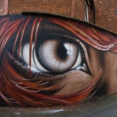 """Street art by Eoin in Dublin, Ireland.  Awesome street art!  Ireland.....I have always wanted to go there....oh, something else to put on my """"bucket list"""" board...lol."""