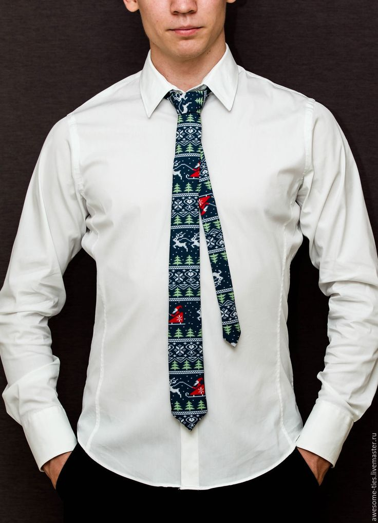 Купить Новогодний галстук 'Дед Мороз', галстук на новый год 2017 - тёмно-синий, новый год 2017