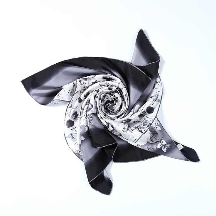 Large Square Silk Twill Scarf Black and White Theme Floral Print XWC682
