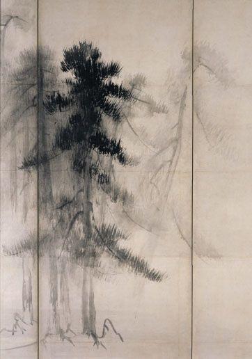 """Pine Trees"" in detail (pair of six-folded screens; ink on paper), by HASEGAWA Tohaku (1539~1610): National Treasure of Japan 長谷川等伯 松林図(国宝)"