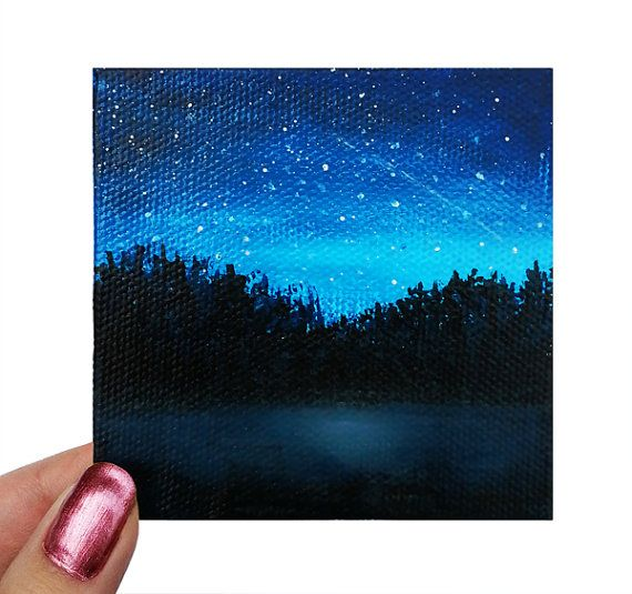 Acrylic painting mini canvas lake silhouette original for Black canvas painting ideas