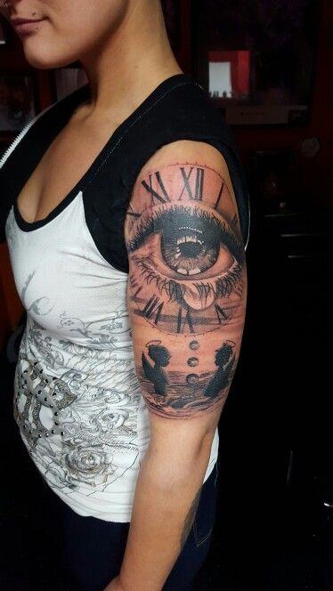 Crying Eye With Clock Crying Eyes Cool Eyes Tattoos