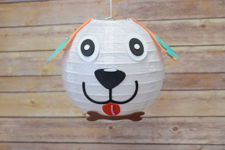 """This is our 8"""" Paper Lantern Animal Face Kit - Dog. This item is perfect for birthday giveaways and birthday activities if you are hosting a birthday party! You can also use this to decorate a child's bedroom, a nursery and even a classroom."""