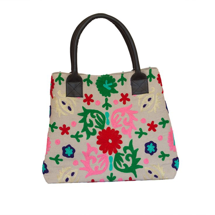 Hand Embroidered Floral Handbag - Beige | The Hues of India