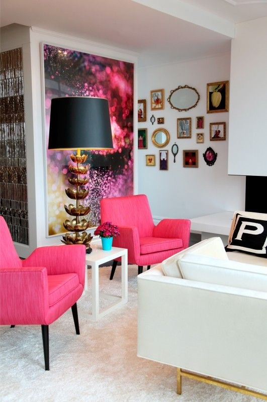 Hot pink chairs. using hand mirrors as art.