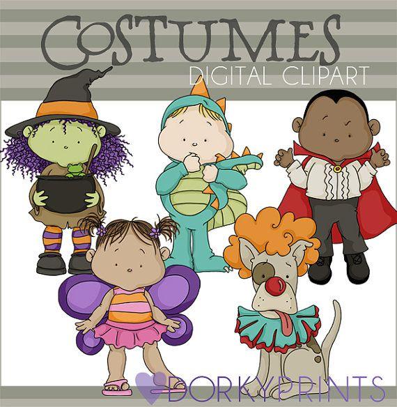 Cute Halloween Costumes Digital Clip art Set by DorkyPrints, $3.50