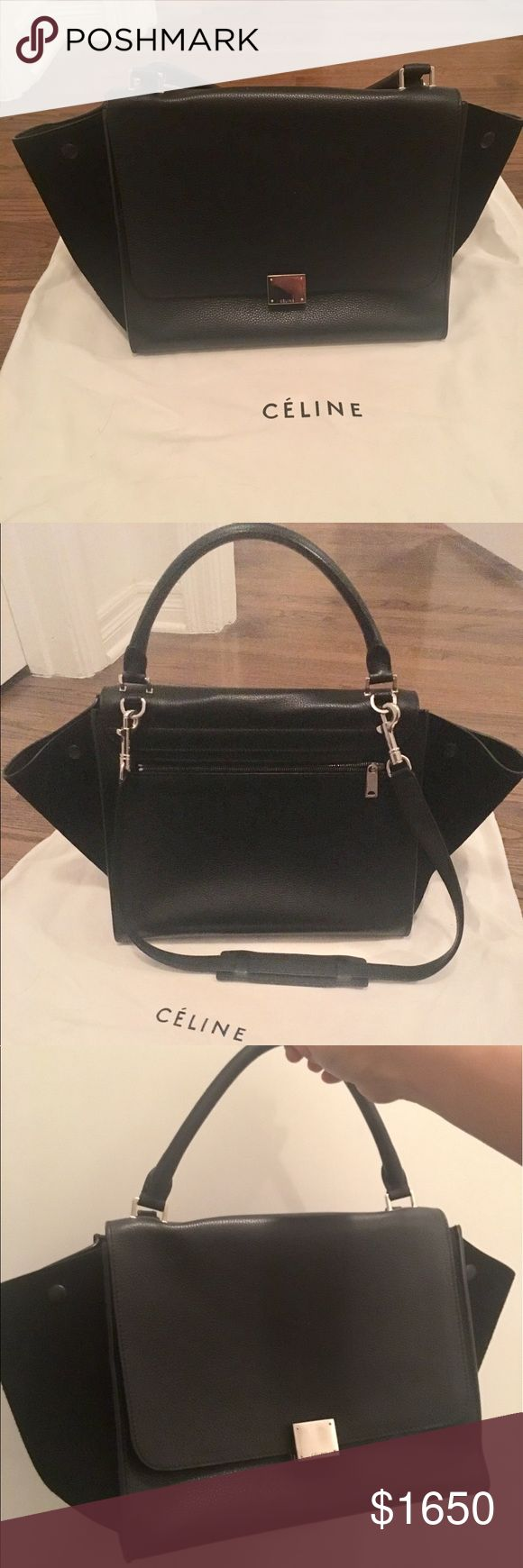 Celine Medium Trapeze Black Leather and Suede Bag Medium Trapeze bag from Celine, 2012 collection by Phoebe Philo. Black pebbled leather, tonal Suede trim, silver tone hardware, exterior back zipper pocket, snap expansion at sides which can be tucked in for a different look, dual slip pockets on interior wall, flip lock closure. Excellent condition, barely used. No visible marks or scratches. Has been stored in its dustbag on a flat surface in my closet. Comes with original dustbag, tags and…